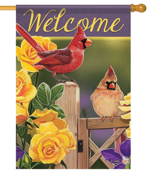 Yellow Rose Cardinals House Flag - All Decorative Flags/Themes/Bird Flags/Cardinals - I AmEricas Flags