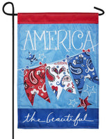 America the Beautiful Double Applique Garden Flag - I AmEricas Flags