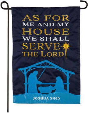 As for Me and My House Nativity Applique Garden Flag