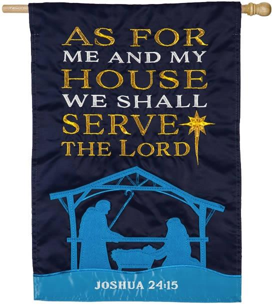 As for Me and My House Nativity Applique House Flag