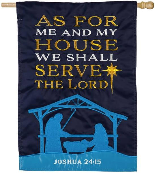 As for Me and My House Nativity Applique House Flag - I AmEricas Flags