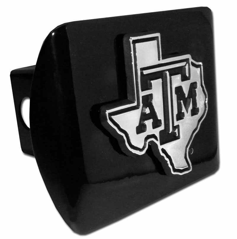 Texas A&M University Chrome State Shape Black Hitch Cover