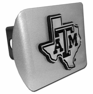 Texas A&M University Chrome State Shape Brushed Chrome Hitch Cover