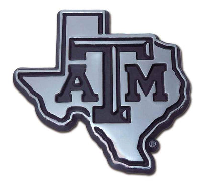 Texas A&M University State Shaped Chrome Car Emblem