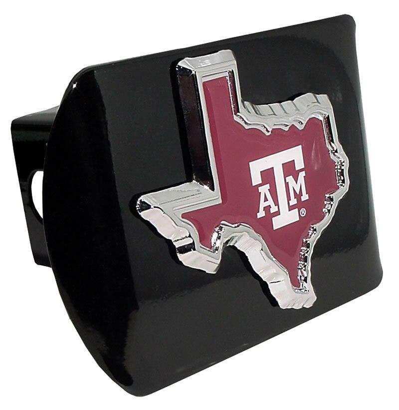 Texas A&M University Maroon State Shape Black Hitch Cover