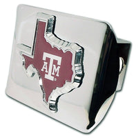 Texas A&M University Maroon State Shape Shiny Chrome Hitch Cover