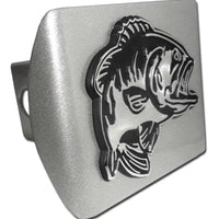 Bass Fish Brushed Chrome Hitch Cover