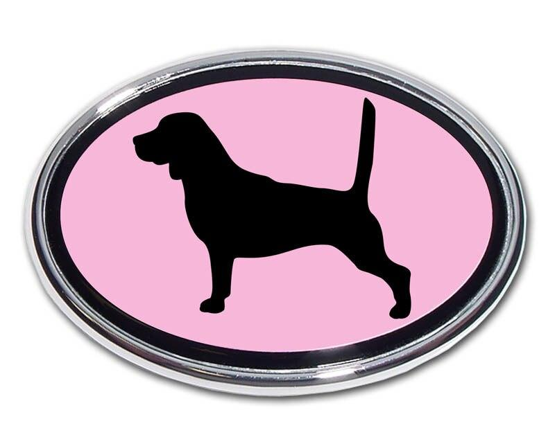 Beagle Pink and Chrome Car Emblem