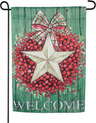 Berry Star Wreath Welcome Suede Reflections Garden Flag