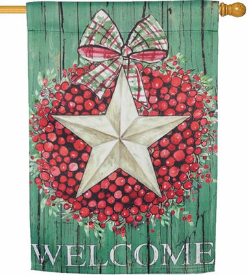 Berry Star Wreath Welcome Suede Reflections House Flag