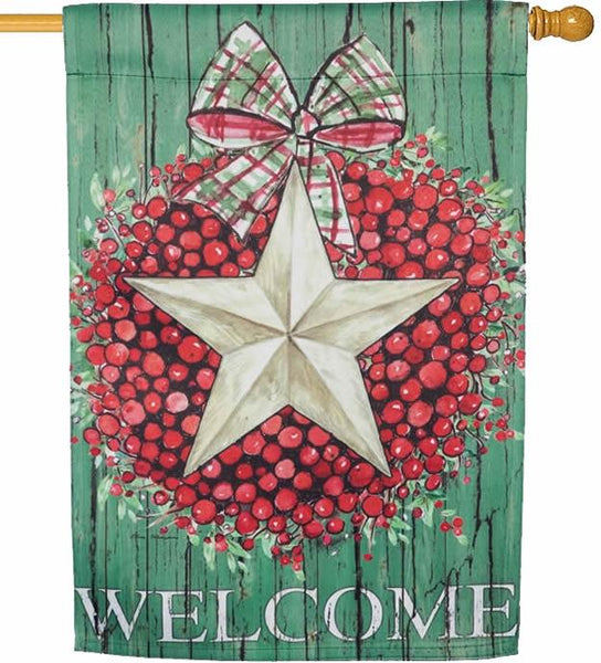 Berry Star Wreath Welcome Suede Reflections House Flag - I AmEricas Flags