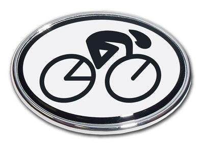 Cycling Oval Chrome Car Emblem