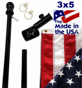 Black 6ft Spinning Pole and Flag Kit with Embroidered Stars