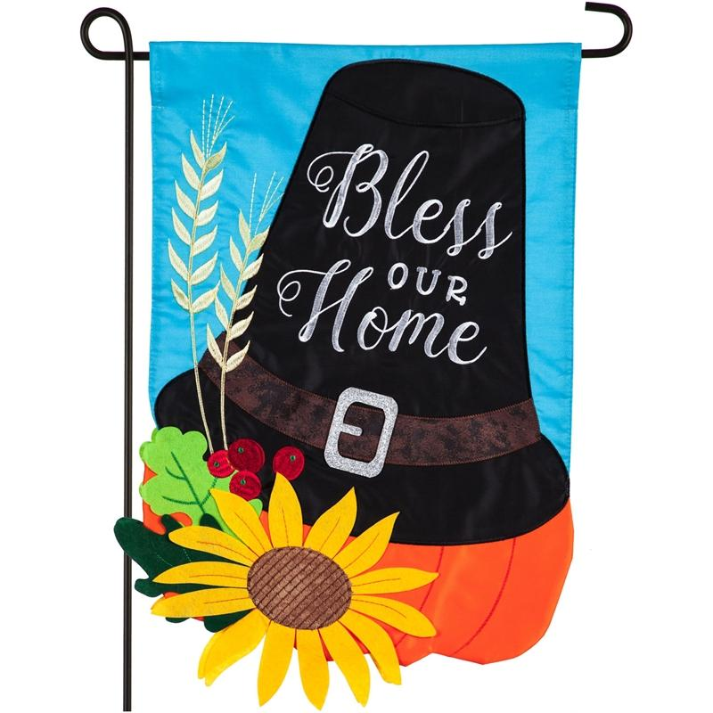 Bless Our Home Pilgrim Hat Applique Garden Flag