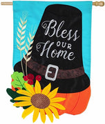 Bless Our Home Pilgrim Hat Applique House Flag