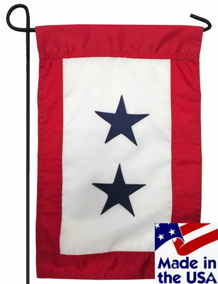 Blue Service Two Star Applique Garden Flag