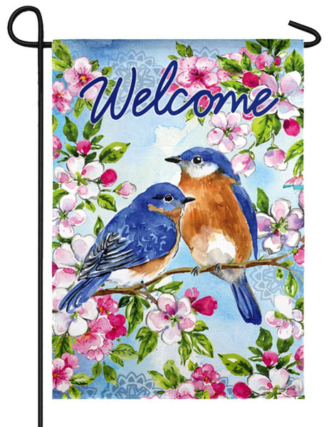 Bluebirds and Blossoms Suede Reflections Garden Flag