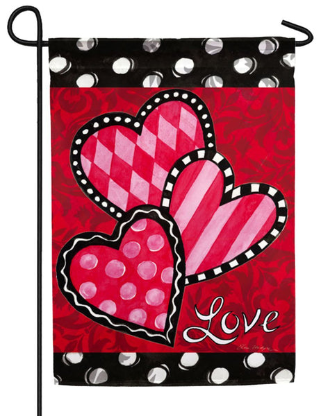 Bright Valentine's Hearts Suede Reflections Garden Flag - I AmEricas Flags