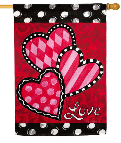 Bright Valentine's Hearts Suede Reflections House Flag
