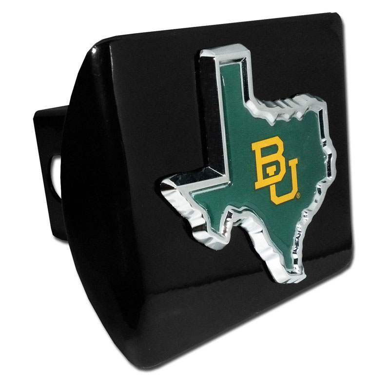 Baylor University Green State Shape Black Hitch Cover