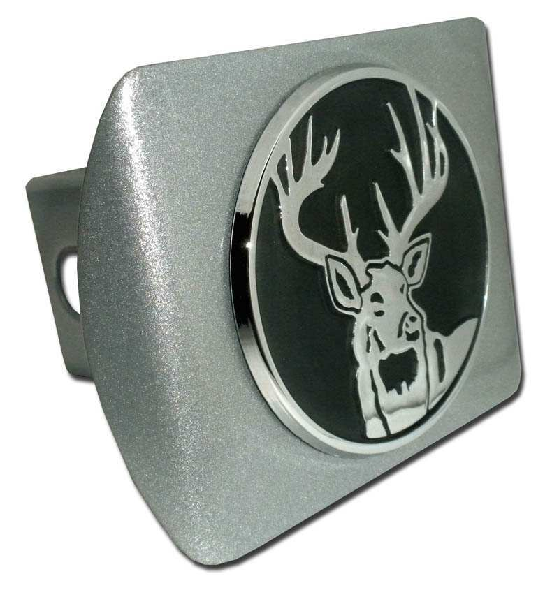 Buck Brushed Chrome Hitch Cover