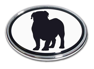 English Bulldog Chrome Car Emblem