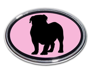 English Bulldog Pink and Chrome Car Emblem