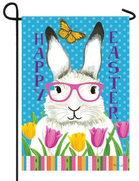 Bunny With Glasses Garden Flag