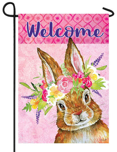 Bunny Wreath Garden Flag