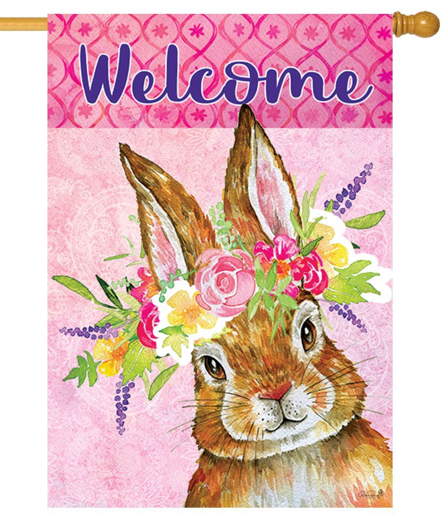 Bunny Wreath House Flag