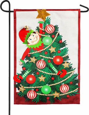 Burlap Elf In A Christmas Tree Garden Flag