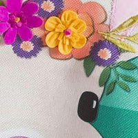 Burlap Floral Easter Bunny Decorative Garden Flag Detail 1