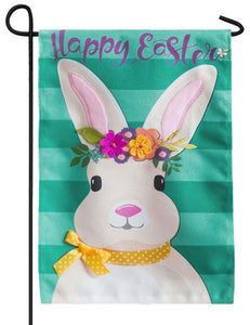 Burlap Floral Easter Bunny Decorative Garden Flag