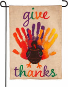 "Burlap Handprint Turkey ""give thanks"" Garden Flag"