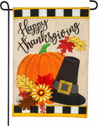 Burlap Happy Thanksgiving Pumpkin and Hat Garden Flag