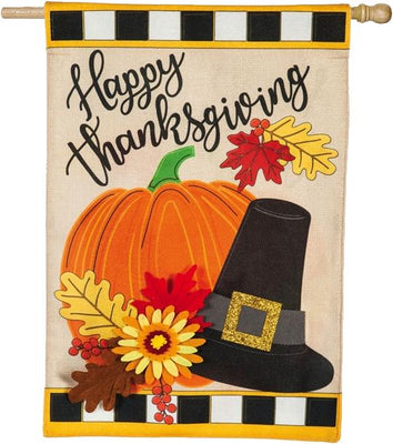 Burlap Happy Thanksgiving Pumpkin and Hat House Flag