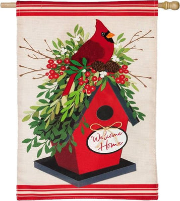 Burlap Holiday Birdhouse Welcome Home House Flag