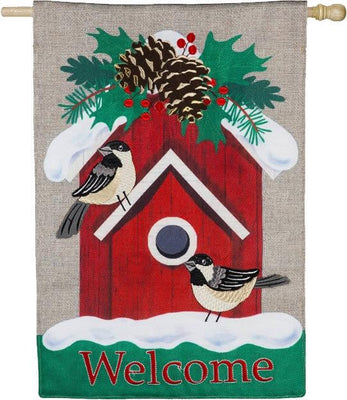 Burlap Holiday Chickadee Birdhouse House Flag