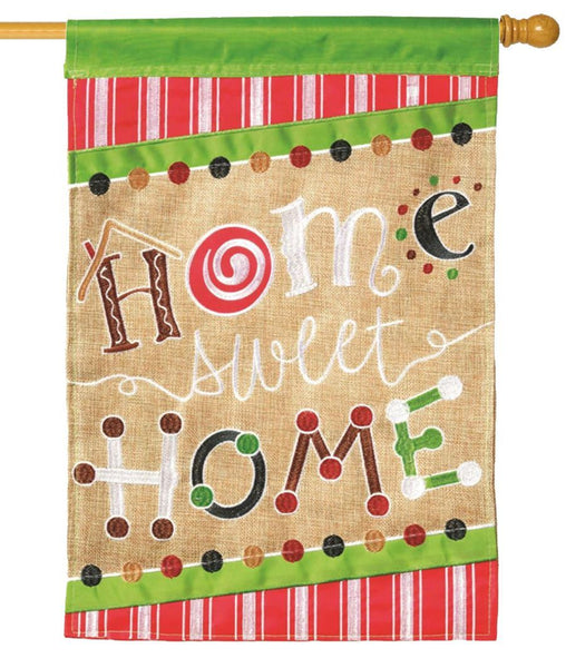 Burlap Home Sweet Home Double Applique House Flag - I AmEricas Flags