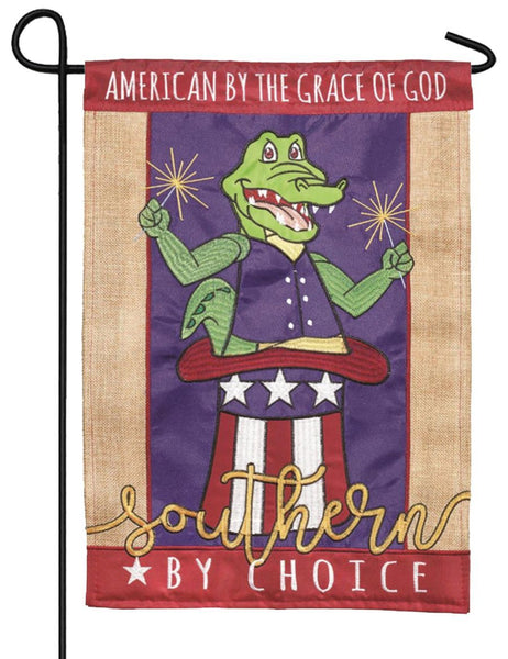 July 4th Alligator Double Applique Garden Flag - I AmEricas Flags