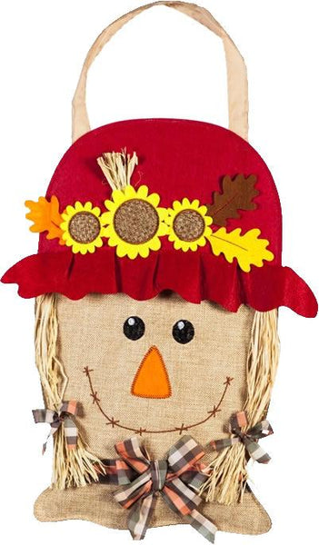Burlap Mrs. Smiling Scarecrow Decorative Door Hanger - I AmEricas Flags