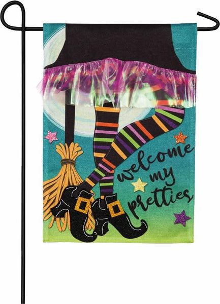 Burlap My Pretties Witch Garden Flag - I AmEricas Flags