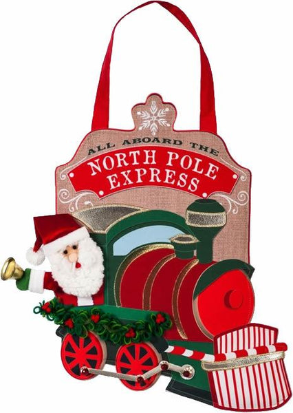 Burlap North Pole Express Decorative Door Hanger - I AmEricas Flags