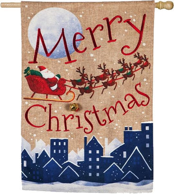 Burlap Santa's Sleigh Merry Christmas House Flag