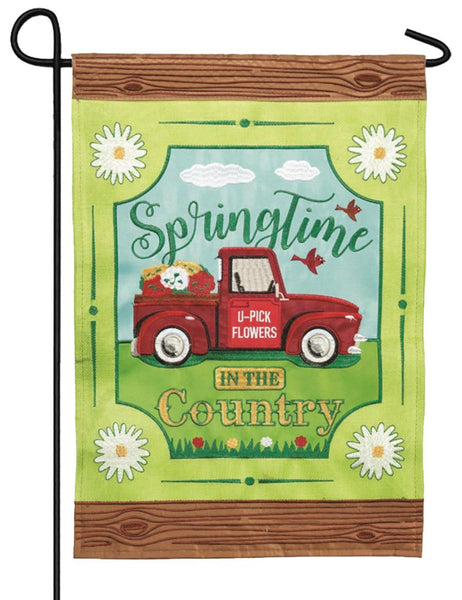 Burlap Springtime in the Country Double Applique Garden Flag