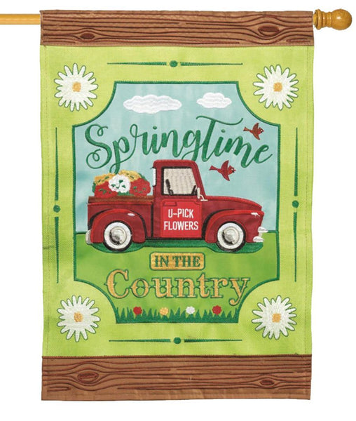 Burlap Springtime in the Country Double Applique House Flag