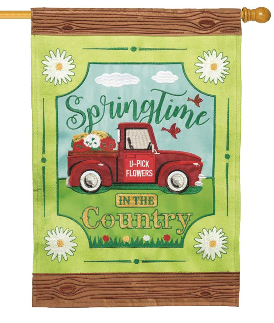 Burlap Springtime in the Country Double Applique House Flag - I AmEricas Flags