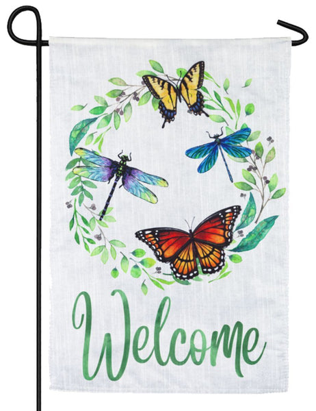 Butterfly and Dragonfly Wreath Decorative Strié Fabric Garden Flag - I AmEricas Flags