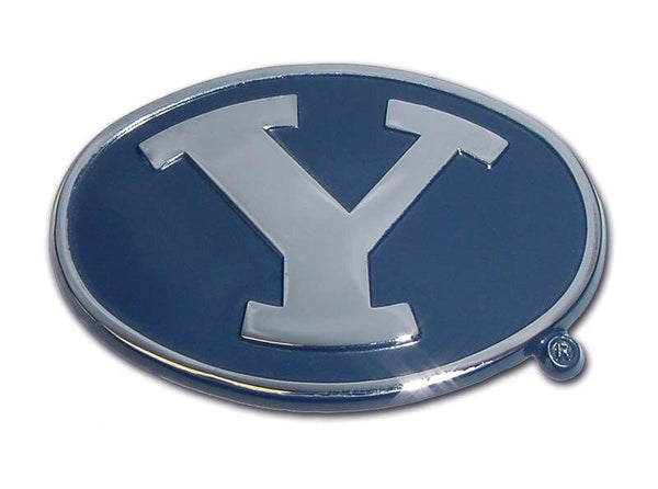 Brigham Young University Navy Chrome Emblem - Chrome Car Emblems | Trailer Hitch Covers/Collegiate Car Emblems/Brigham Young University - I AmEricas Flags