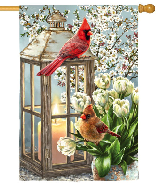 Cardinal Couple and Dogwood Blossoms Suede Reflections House Flag - I AmEricas Flags